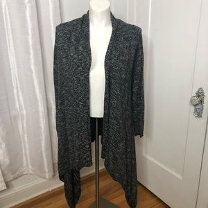 LUCKY BRAND Cardigan 1X Open Front Black White